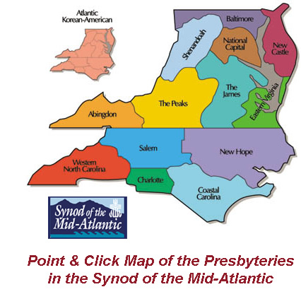 Point and Click Map of the Presbyteries in the Synod of the Mid-Atlantic